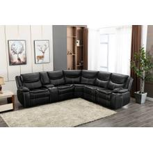 8000 BLACK Air Leather Reversible Sectional Sofa w/ Power & USB
