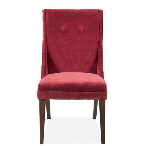 Mix-n-match Chairs - Red Velvet Side Chair - Hazelnut Finish
