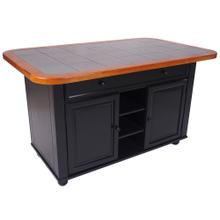 Product Image - Kitchen Island - Antique Black w/Cherry Trim and Gray Tile Top