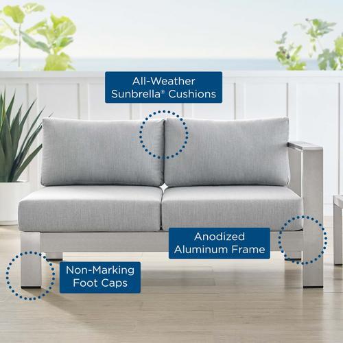 Shore Sunbrella® Fabric Aluminum Outdoor Patio Right-Arm Loveseat in Silver Gray