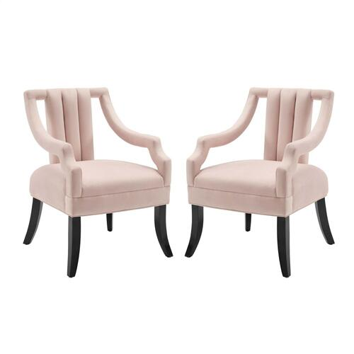 Modway - Harken Accent Chair Performance Velvet Set of 2 in Pink