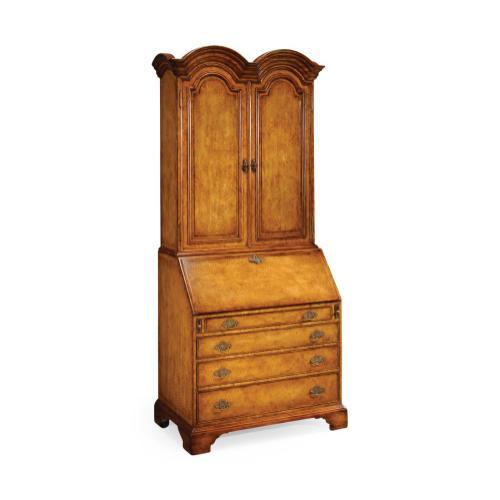 Queen Anne Light Walnut Bureau Cabinet with Panelled Doors