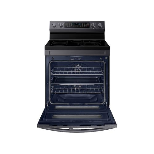 Samsung - 6.3 cu. ft. Smart Freestanding Electric Range with Flex Duo™, No-Preheat Air Fry & Griddle in Black Stainless Steel
