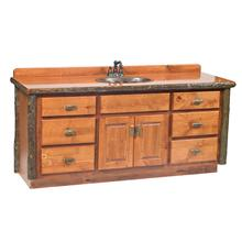Vanity with Top - 60-inch - Cognac - Sink Center - Liquid Glass