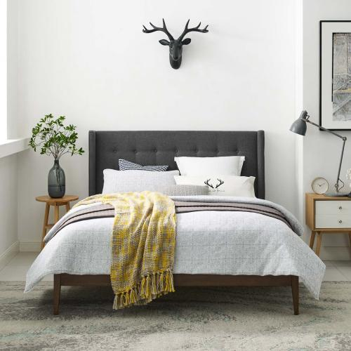 Hadley Queen Wingback Upholstered Polyester Fabric Platform Bed in Gray