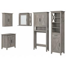 Key West Bathroom Farmhouse Bathroom Storage Set with Cabinets, Mirror, Hamper and Shelf - Driftwood Gray