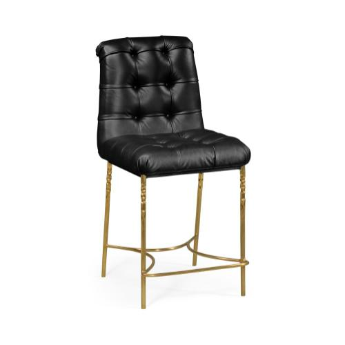 Black Leather Counter Stool