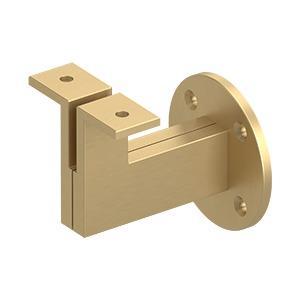 """Modern Handrail Bracket, 3-1/4"""" Projection, Heavy Duty - Brushed Brass"""