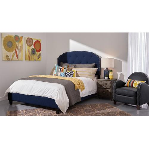Tufted Upholstered Traditional Queen Bed in Cobalt Blue
