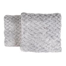 Faux Fur Pillow 2PC Feathered Chevron 705FC-451