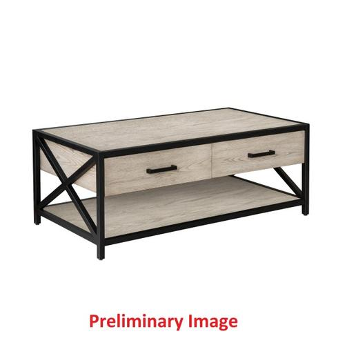 Gray Ash Metal Framed Two Drawer Cocktail Table