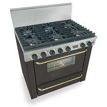 """View Product - 36"""" Six Burner All Gas Range, Sealed Burners, Black with Brass"""
