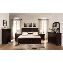 Brishland Rustic Cherry Storage Bedroom set QUEEN & KING Bed Dresser Mirror 2 Nighstands and Chest, King