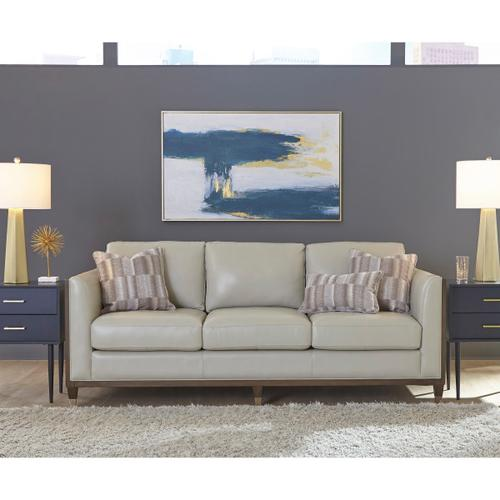 Pulaski Furniture - Addison Leather Sofa With Wooden Base in Frost Grey