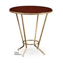 Leather Top & Gilded Iron Side Table