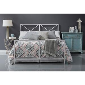 All-In-One White High Gloss 'X' Patterned Queen Metal Bed