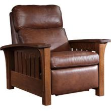 Wall Recliner Bustle Back Leather, Oak Bow Arm Morris Recliner