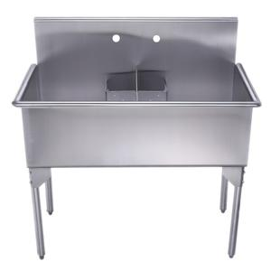 Pearlhaus Collection double bowl commercial freestanding utility sink. Product Image