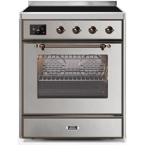 Majestic II 30 Inch Electric Freestanding Range in Stainless Steel with Bronze Trim