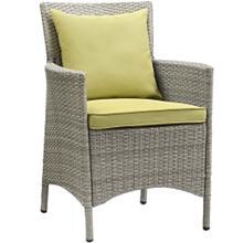 Conduit Outdoor Patio Wicker Rattan Dining Armchair in Light Gray Peridot