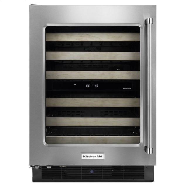 """Kitchenaid 24"""" Wine Cellar with Glass Door and Wood-Front Racks - Stainless Steel"""