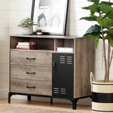 3-Drawer Buffet - Weathered Oak and Matte Black