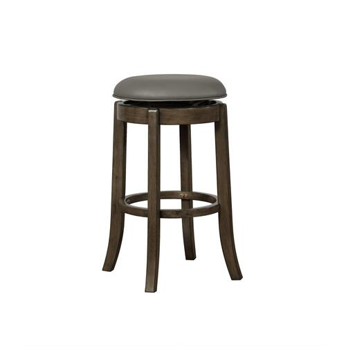 Upholstered Seat and 360-degree Swivel Barstool, Grey