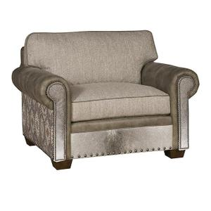 Reno Leather/Fabric Chair & 1/2, Reno Leather/Fabric Ottoman