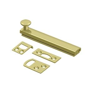 "Deltana - 4"" Surface Bolt, Concealed Screw, HD - Polished Brass"