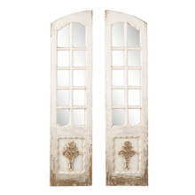 Distressed Ivory Door Wall Mirror with Carved Gold Scroll (2 pc. ppk.)