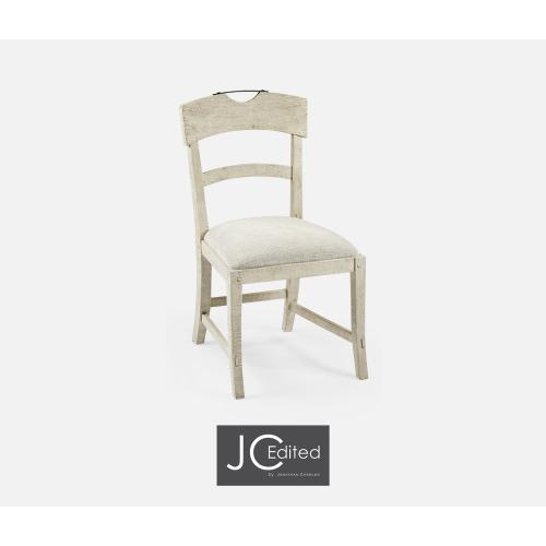 Planked White Wash Driftwood Dining Side Chair, Upholstered in Shambala