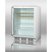 Commercially Listed Counter Height Beverage Center With White Cabinet, Glass Door, Full-length Ss Handle, Glass and Wooden Shelves, and Lock
