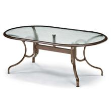 """See Details - Glass Top Table 43"""" x 75"""" Oval Dining Table w/ hole Ogee Rim"""