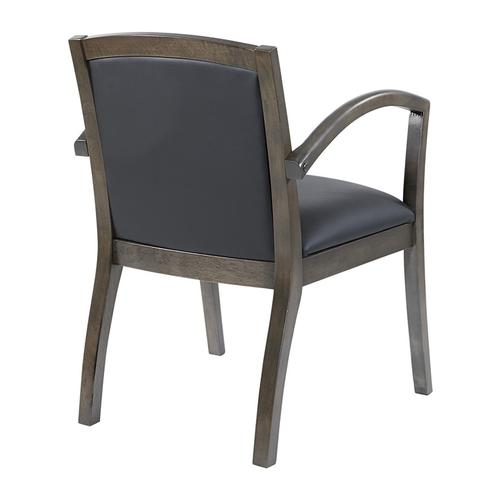 Napa Slate Grey Chair With Full Cushion Back, Black Bonded Leather