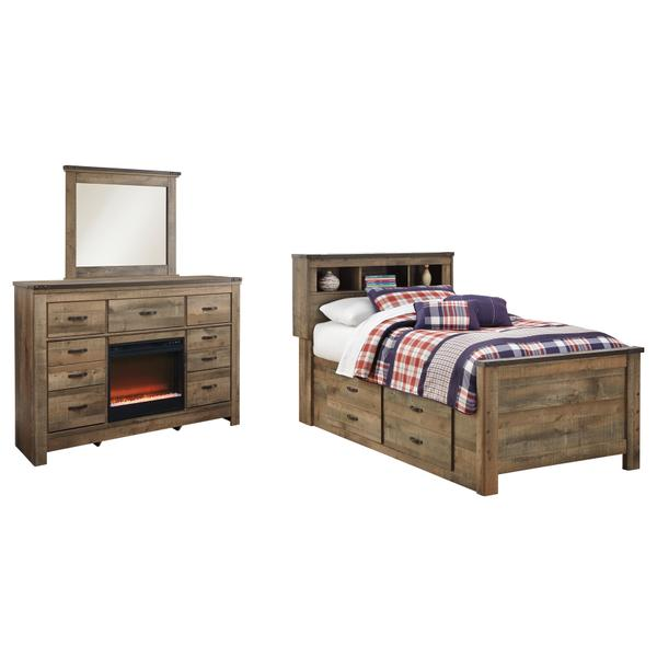 See Details - Twin Bookcase Bed With 2 Storage Drawers With Mirrored Dresser