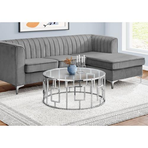 """Gallery - COFFEE TABLE - 36""""DIA / CHROME METAL WITH TEMPERED GLASS"""
