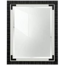 Black and White Farmhouse Mirror with Faux Metal Corner Detail  49in X 39in  Framed Wall Mirror