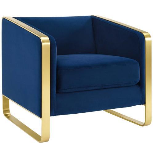 Visualize Armchair Performance Velvet Set of 2 in Navy