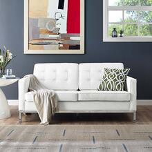 See Details - Loft Leather Loveseat in Cream White