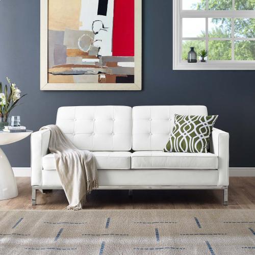 Loft Leather Loveseat in Cream White