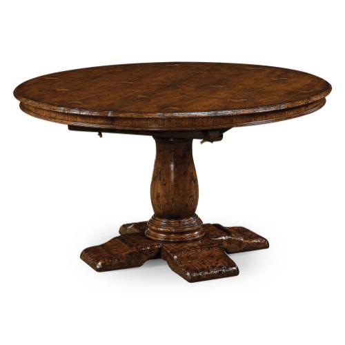 "54"" Extending dark oak country table"