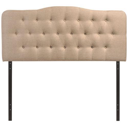 Annabel King Upholstered Fabric Headboard in Beige