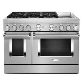 KitchenAid® 48'' Smart Commercial-Style Dual Fuel Range with Griddle - Heritage Stainless Steel