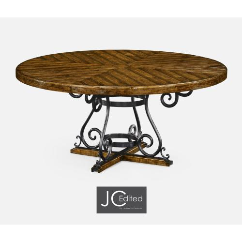 """66"""" Country Walnut and Wrought Iron Dining Table"""