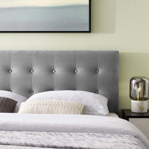 Emily Full Biscuit Tufted Performance Velvet Headboard in Gray