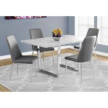 "DINING TABLE - 36""X 60"" / GREY CEMENT / CHROME METAL"