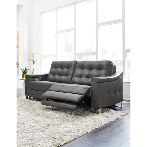 Product Image - Parker Tufted Leather Power Reclining Sofa in Storm Gray