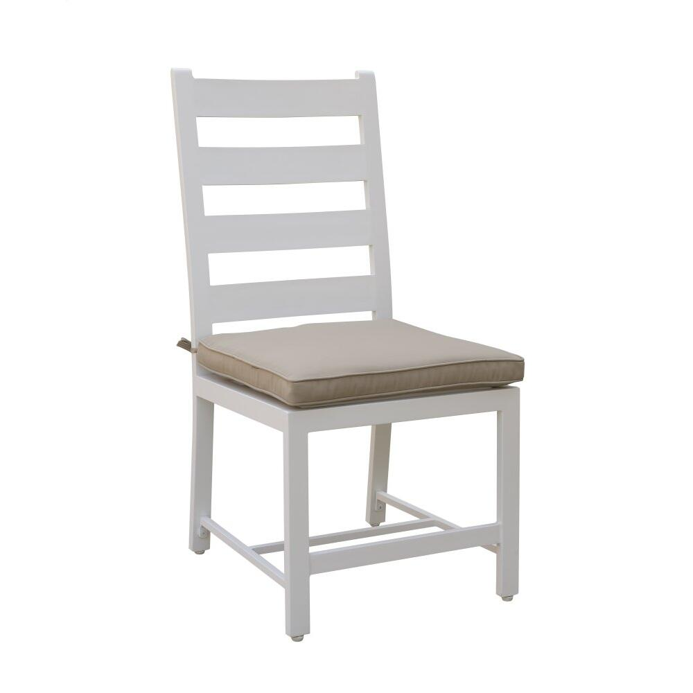 Emerald Home Mountain Side Dining Armless Side Chair-white W/spuncrylic Beige Padded Seat (2/ctn) Od1090-20-05