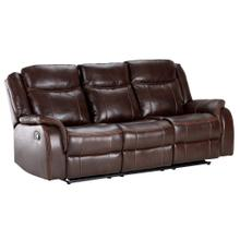 See Details - Avalon Motion Sofa with Power Drop Down Console - Brown