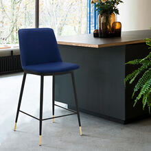 "Messina 26"" Modern Counter Height Bar Stool with Black Metal Finish and Blue Faux Leather"